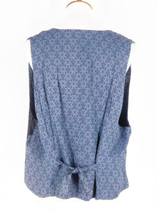 One-Of-A-Kind Assorted Kimono Silk Crop Vest - Blue/Navy - M/L