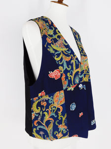 One-Of-A-Kind Assorted Kimono Silk Crop Vest - Blue/Black - M/L