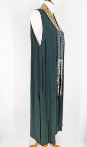 One-Of-A-Kind Assorted Kimono Obi Silk Long Vest - Green - L