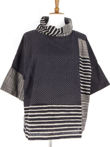 Cowl Neck Top - Solid / Lines Print - Black