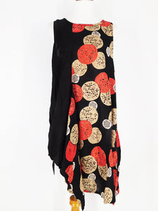 Funky Tank Dress - Flower Ball Print - Black