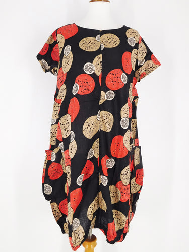 Balloon Dress - Flower Ball Print - Black