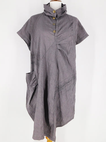 Cowl Neck Pocket Dress - Brush Print - Grey