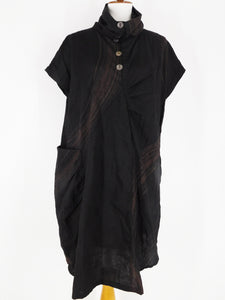 Cowl Neck Pocket Dress - Brush Print - Black