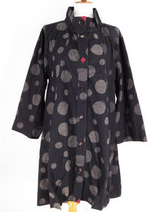 Tuck Bottom Coat - Random Dot Print - Black
