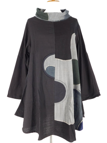 Cowl Neck Swing Tunic - Half Moon Batik - Black
