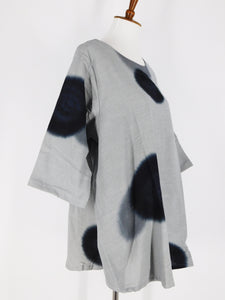 A-Line Tunic - Fuzzy Circle Batik - Grey