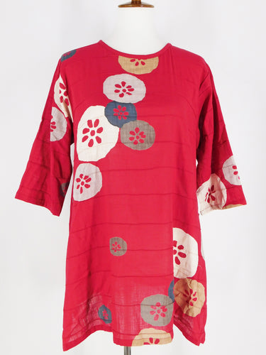 Button Pintuck Tunic - Lotus Print - Red
