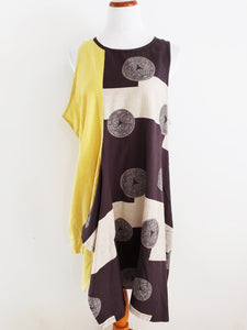 Funky Tank Dress - Mix Crest Print - Mustard