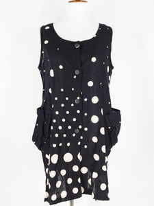 Funky Pocket Vest - Mix Dot Print - Black