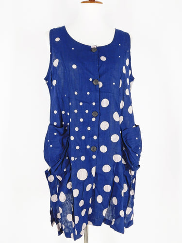 Funky Pocket Vest - Mix Dot Print - Navy