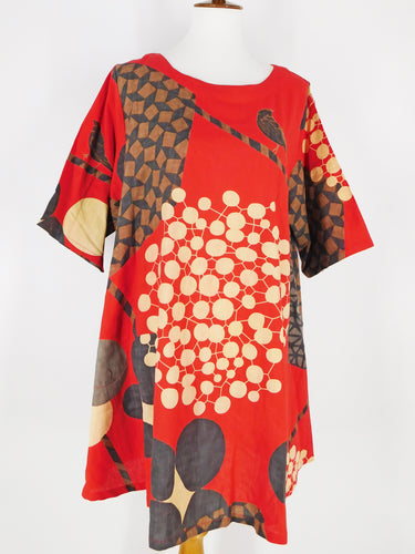 Simple Tunic - Nightingale Print - Red