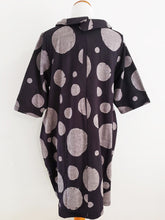 Fleece Cowl Neck Tunic - Polka Dot Print - Black