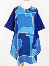 Curved Bottom Dress - Picasso Print - Indigo