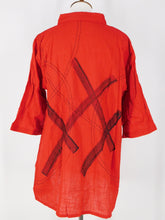 Button Front Shirt - Paint & Sashiko - Red