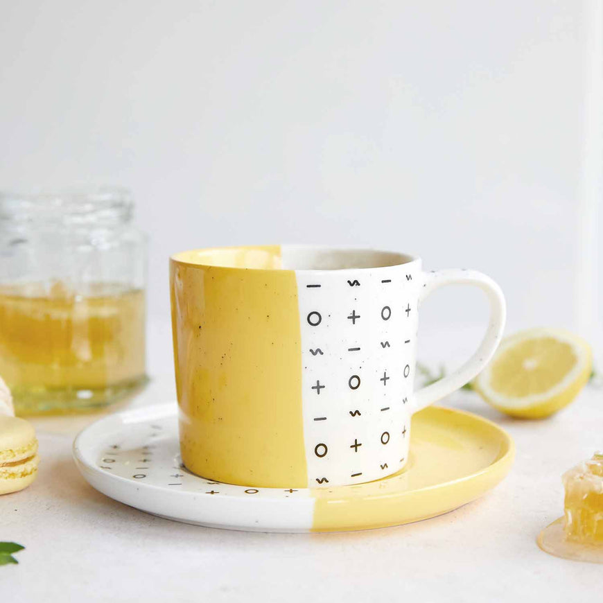 Dipped Yellow Mug and Plate