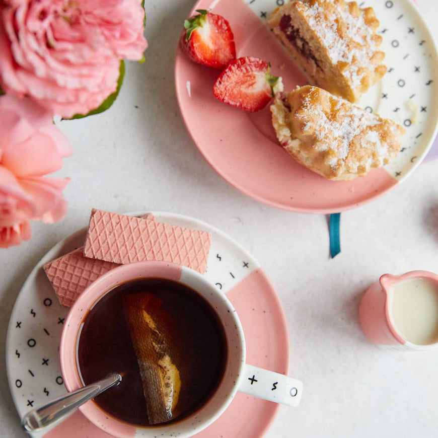 Dipped Pink Mug and Plate