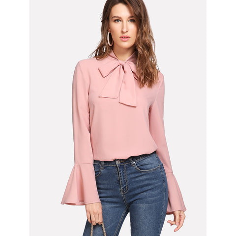 Bow Tied Neck Bell Cuff Curved Hem Blouse