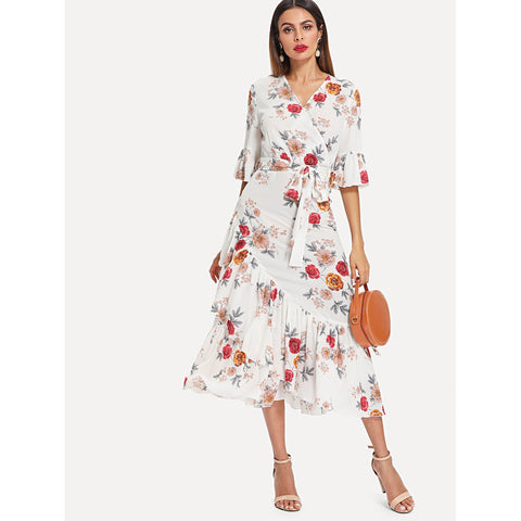 Self Belted Asymmetrical Ruffle Hem Wrap Floral Dress