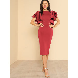 Symmetrical Flounce Shoulder Form Fitting Dress