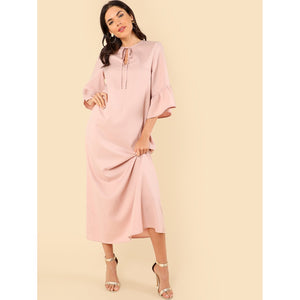 Ruffle Sleeve Tie Neck Maxi Dress