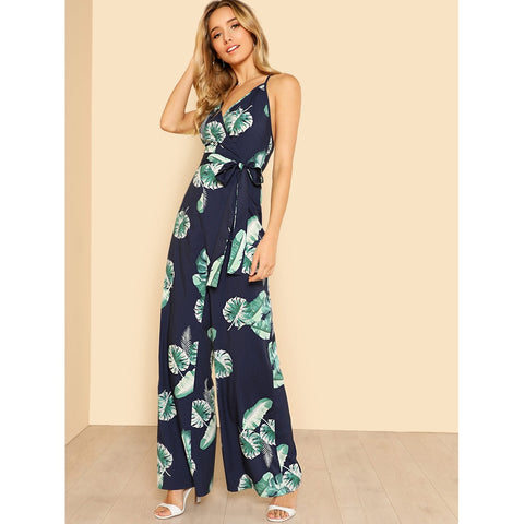 Tropical Print Wide Leg Cami Jumpsuit