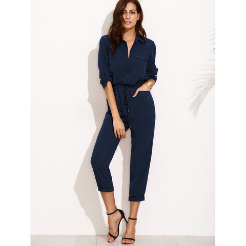 Tie Waist Rolled Sleeve Equipment Jumpsuit