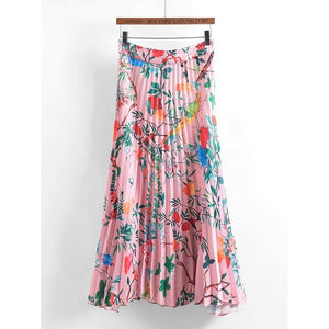 Botanical Print Pleated Skirt