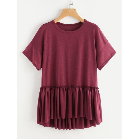 Drop Shoulder Frill Detail Dip Hem Tee
