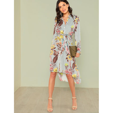 Slit Side Mixed Print Dip Hem Shirt Dress