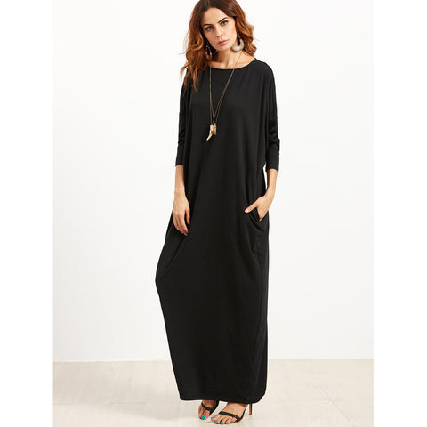 Scoop Neck Shift Maxi Dress