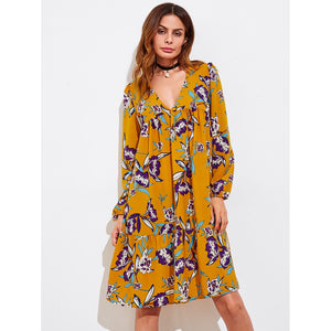 All Over Florals V-neckline Tiered Peasant Dress
