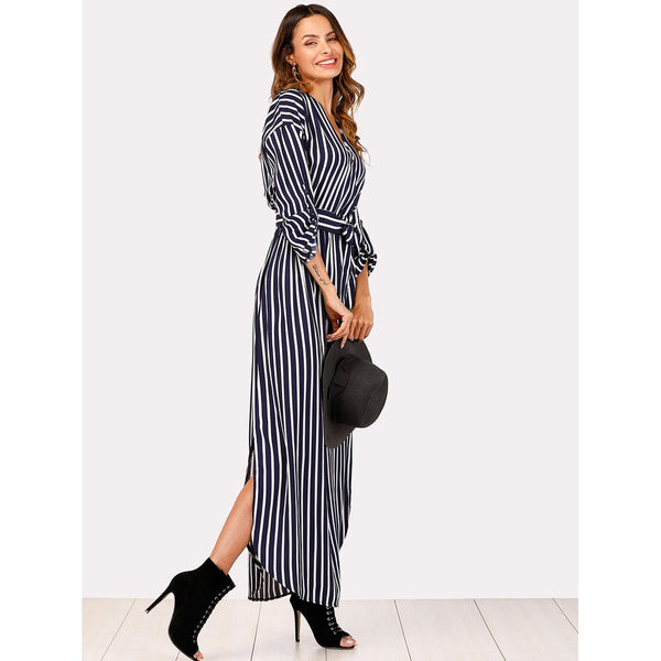 Striped Self Tie Waist Dress