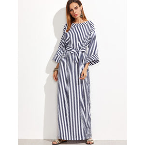 Striped Self Tie Roll Cuff Maxi Dress
