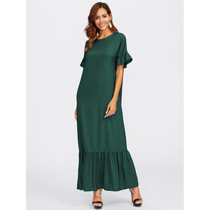Ruffle Sleeve Tiered Hem Full Length Dress