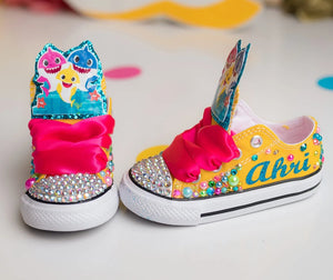 Baby shark shoes- Baby shark bling Converse-Girls Baby shark Shoes-