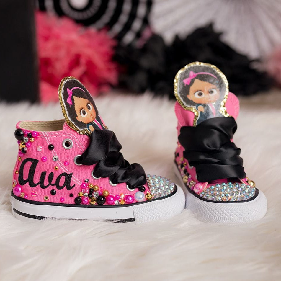 Boss Baby shoes- Boss baby bling Converse-Girls Boss baby Shoes-
