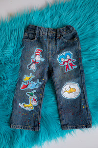 Cat in the Hat Denim Set-Boys Cat in the hat denim set-Cat in the hat Birthday outfit-Cat in the hat boys outfit