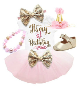 1st Birthday tutu set-(Light Pink)-First Birthday tutu set