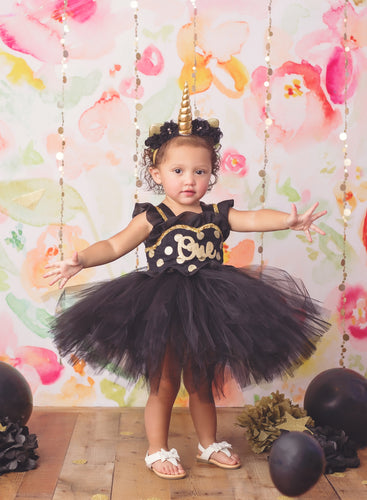 First birthday dress-first birthday tutu dress- Black And Gold Tutu Dress