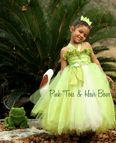 Princess Tiana Tutu Dress  Pink Toes  Hair Bows