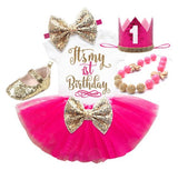 1st Birthday tutu set-(Hot pink)-First Birthday tutu set
