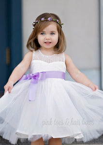 Ava's White lace Couture Dress with Sash-Ready to ship