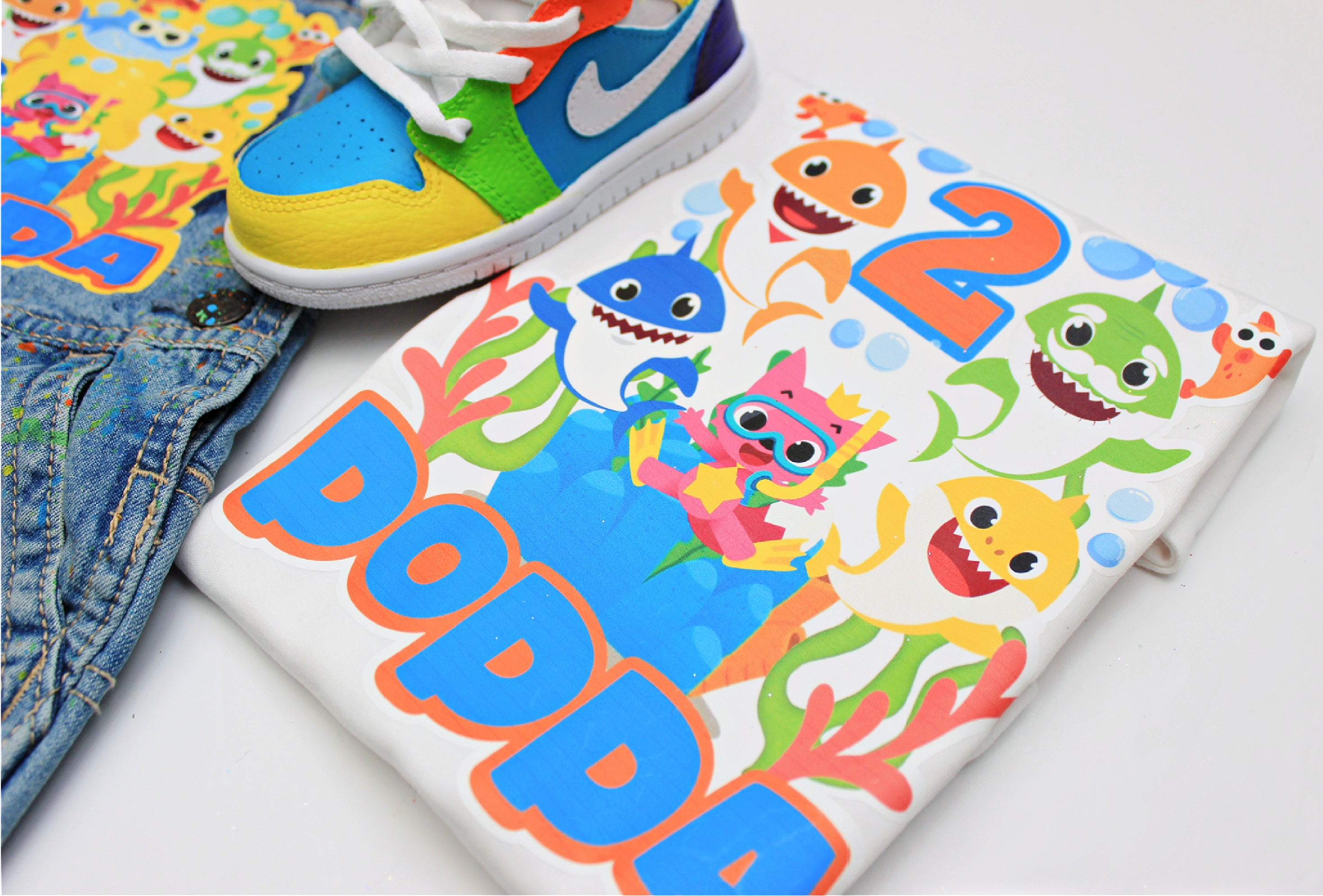 Baby Shark shoes- Baby Shark Jordans -Boys Jordans Shoes-Custom Jordans- Toddler Jordans