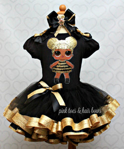 Queen bee lol surprise doll tutu set-Queen bee lol surprise outfit-Queen bee lol dress