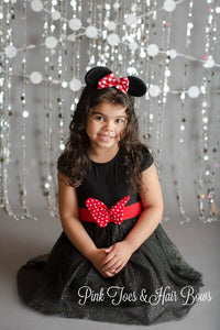 Black Sparkle Minnie Dress-Ready To Ship