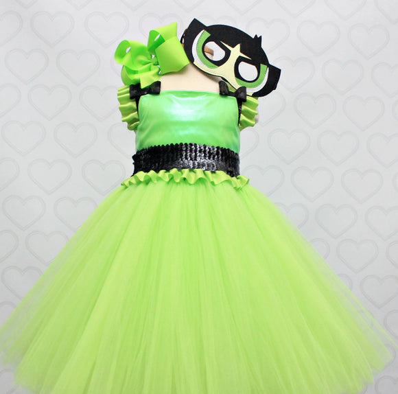 Powerpuff girl costume- powerpuff girl tutu costume- powerpuff costume dress- Powerpuff girl dress-powerpuff girl tutu-Buttercup Costume