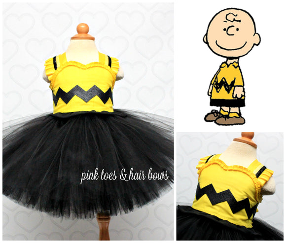 Charlie Brown Dress-Charlie brown costume- Charlie brown tutu- Charlie brown tutu dress