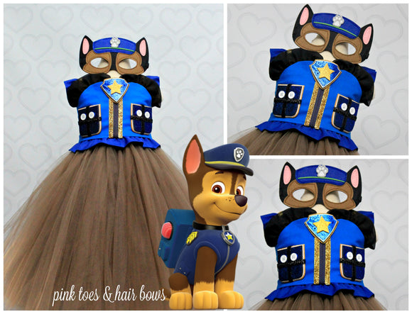 Paw patrol Costume- Chase costume- chase paw patrol tutu dress-paw patrol tutu-Chase dress