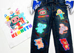Load image into Gallery viewer, Cocomelon Denim Set-Boys cocomelon denim set-cocomelon Birthday outfit-cocomelon boys outfit